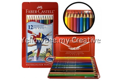 [STOCK CLEARANCE] Faber-Castell Watercolour Pencils Metal Tin 12 Set with Free Brush (115913)