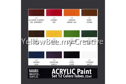 Liquitex BASICS Acrylic Colouring Paint Set 12 Colors x 22ml Tubes Painting Pigmnent Set on Canvas Wood Wall Hand Painted Drawing